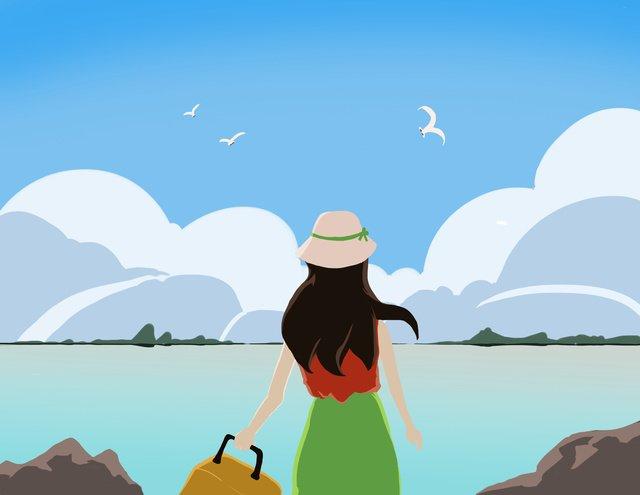 seaside Girl Suitcase sky, Cloud, Seagull, Stone illustration image