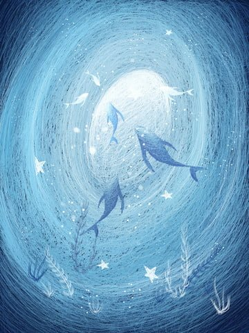 When the sea is blue see whale illustration beautiful healing system coil painting llustration image