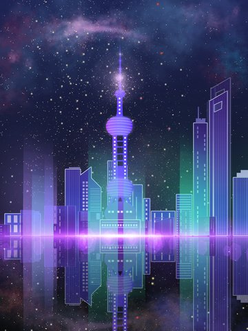 impression shanghai oriental pearl gradient city night starry sky llustration image
