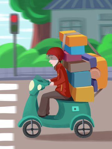 Double twelve shopping spree delivery courier, Shopping Festival, Carnival, Hard illustration image