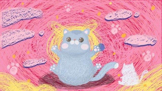 Blue cat cure coil cute pet little animal illustration llustration image