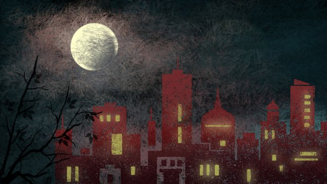 midnight city the moon night forest llustration image illustration image