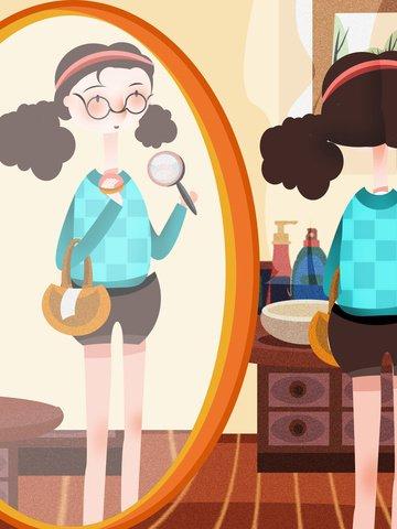 ミラーパフ化粧イラストで見ている女の子 イラスト素材 イラスト画像