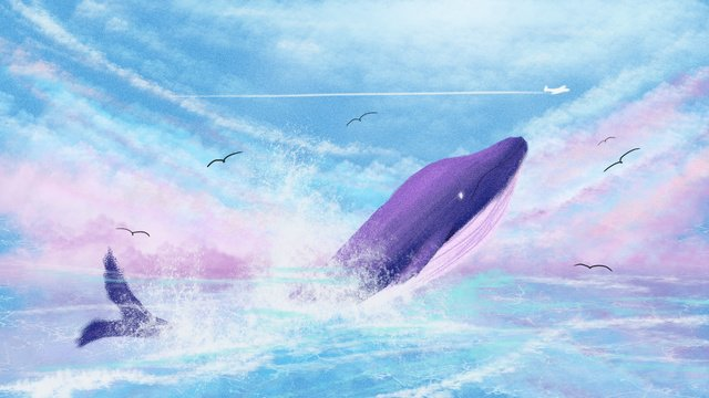 Whale dreamy illustration when dreaming wonderland cures wind blue, Sleepwalking Wonderland, Cure, Sea And Whale illustration image