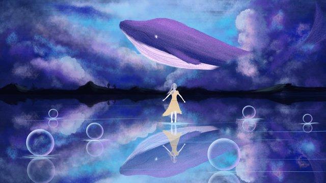 wandering wonderland شفاء ريح أزرق شاهد whale dream starry goodnight hello صورة llustration
