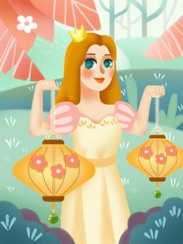 Little fresh wind girl illustration illustration image