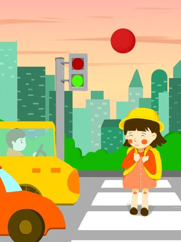 Small fresh illustration december 2 traffic safety day green light crossing the road, Small Fresh, Illustration, December 2 illustration image