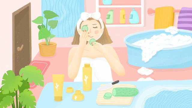 Small fresh night girl skin care scene llustration image illustration image