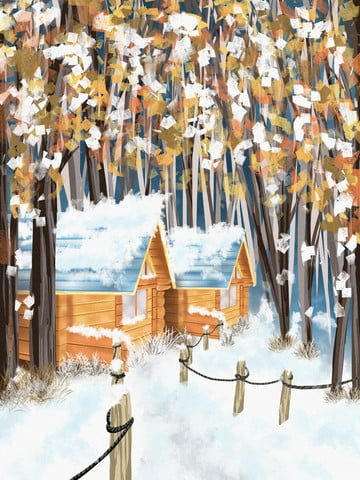 Snowy forest cottage healing illustration, Snow Scene, Beautiful, Cure illustration image