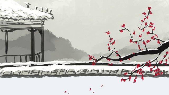 Зимние снежные чернила сливы в китайском стиле оригинальные иллюстрации Ресурсы иллюстрации