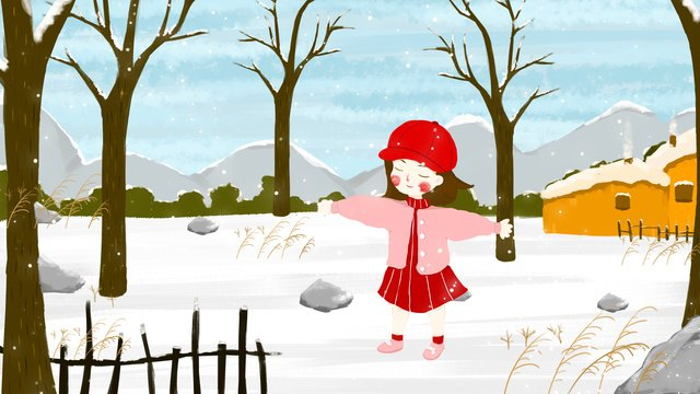 Small fresh illustration winter hello snow feeling snowy day llustration image illustration image
