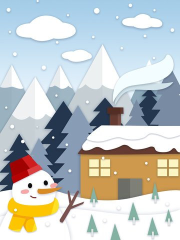 paper cut wind winter snowy cold northern outdoor house and snowman snow mountain illustration image