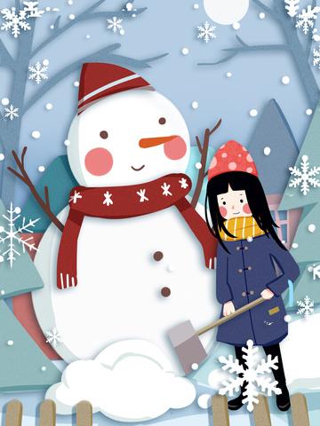 节气 little ustr इलस्ट्रेट कार्टून प्यारा सा लड़की स्नोमैन चित्रण छवि चित्रण छवि
