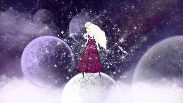 fantasy space planet with girl llustration image illustration image