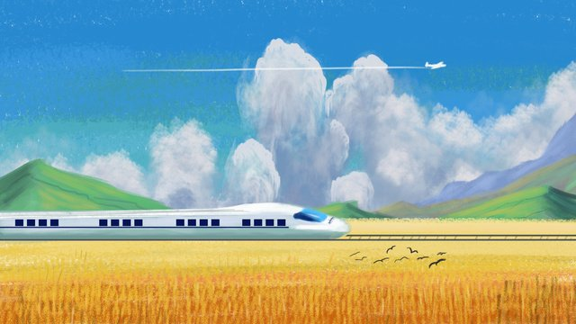 Hand-painted partial real spring travel home scenic high-speed rail plane along the way, Spring Festival, Come Back Home, Wheat Field illustration image
