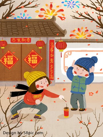 chinese new year happy fireworks original hand painted illustration llustration image