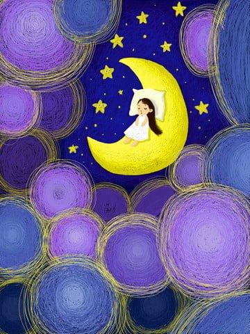 आसमान में तारों के नीचे छोटी लड़की चांद पर सो रही है चित्रण छवि