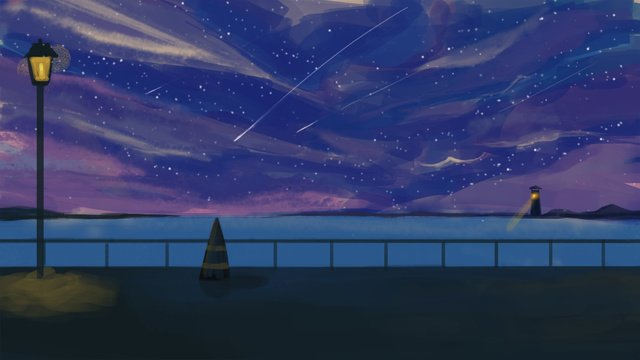 日漫風治愈海邊的星空 插畫素材 插畫圖片