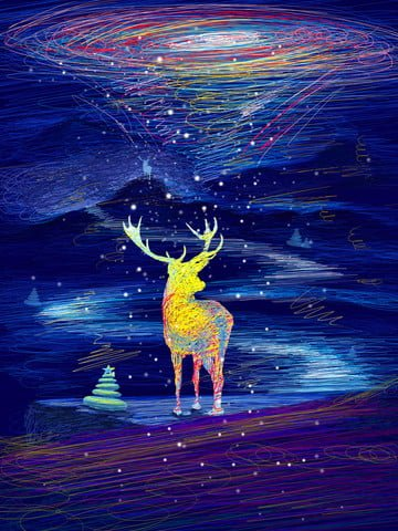 Coil illustration starry sky beautiful healing system deer, Stone, Deer, Starry Sky illustration image