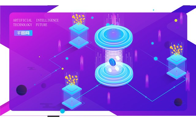 Small fresh blue purple gradient technology future 2.5d illustration, Technology Future, Future Technology, Technology illustration image