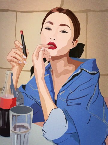 Girls beauty skin diary denim jacket drink cola coated lipstick, Teenage Girl, Beauty, European Beauty illustration image
