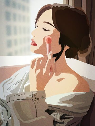 The beauty of girls skin diary is realistic at home., Teenage Girl, Beauty, Make Up illustration image