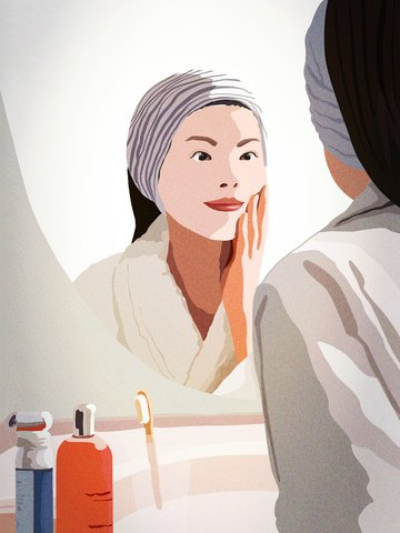 Girls skin beauty diary morning face care mouthwash, Teenage Girl, Beauty, Suyan illustration image
