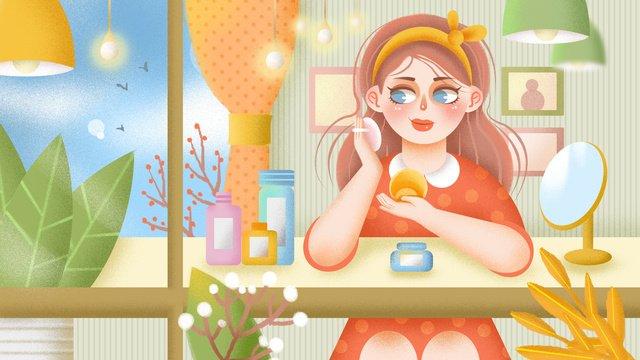 소녀 스킨 케어 일기 작은 신선한 일러스트 레이션 삽화 소재