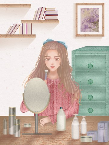 Girls skin beauty diary texture realistic illustration, Teenage Girl, Skin Care, Make Up illustration image