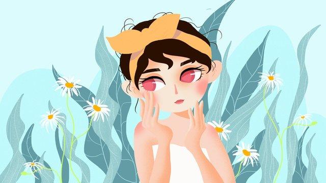원래 질감 만화 그림 피부 관리 아름다움 삽화 소재
