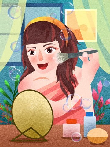 original girl skin makeup mirror window texture realistic illustration illustration image