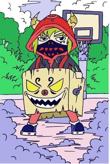 tide man illustration boy basketball court carton mask sweater awan pergerakan imej keterlaluan