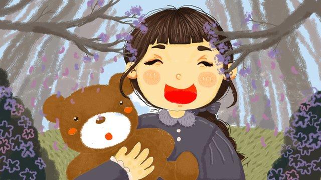 Original illustration of a little girl holding teddy bear in the forest, Tree, Girl, Child illustration image