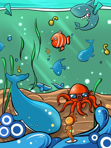 Tide cartoon underwater scene illustration, Underwater World, Tide, Cartoon illustration image