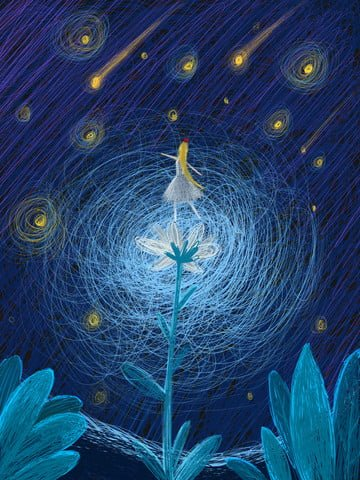 original healing is a girl dancing under the stars illustration image