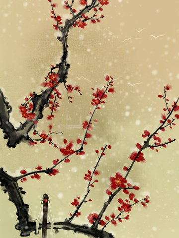 original chinese style ink winter plum llustration image
