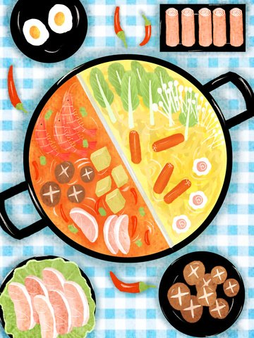 Watercolor style original hot pot gourmet illustration, Watercolor, Food, Hot Pot illustration image