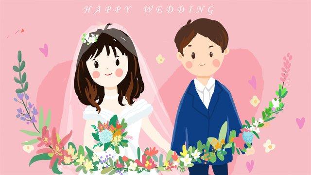 original tươi trẻ và vẽ minh họa cho đám cưới Hình minh họa Hình minh họa