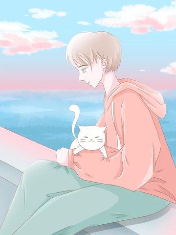 day wind everyday scene illustration boy holding a kitten sitting on the bridge llustration image