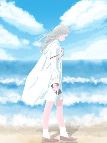日漫風日常場景插畫海邊散步的女孩 插畫圖片