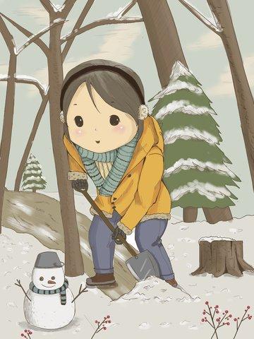 Day wind shoveling snow little girl illustration image