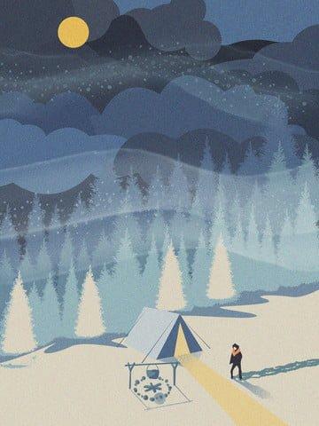 겨울 아름 다운 풍경 빈티지 텍스처 일러스트 레이션 삽화 소재