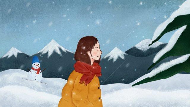 original illustration snowy little girl llustration image