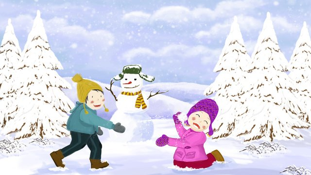 snowballer making snowman in winter outdoors llustration image