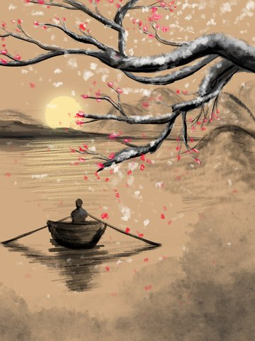 winter plum vintage ink figure boating sunset illustration llustration image