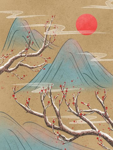 Winter plum vintage ink illustration of mountain blossoms after snow llustration image illustration image