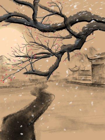 winter plum retro building bridge ink sunset landscape illustration llustration image