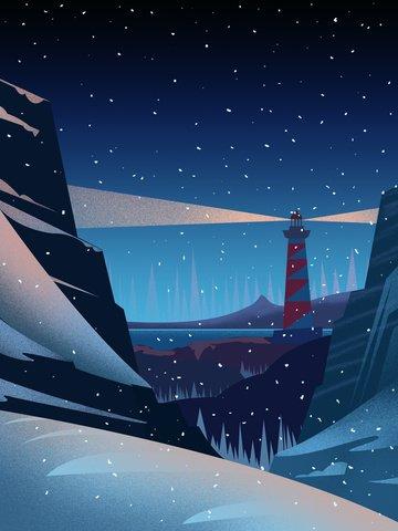 겨울 풍경 아름다운 그림 삽화 소재