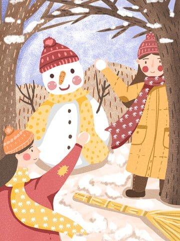 winter hello snow snowball fight snowman llustration image