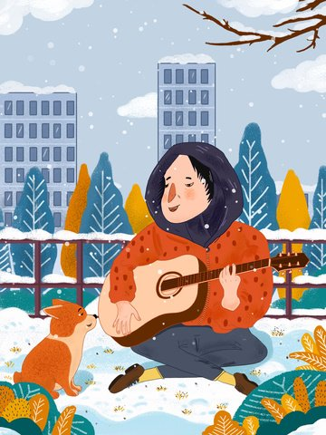 winter hello little fresh illustration boy playing guitar and his puppy llustration image illustration image